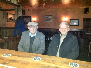 Photo of Patie Geoghegan and Den Lane in the Knockdown Arms. Both these men were 90 years old recently.