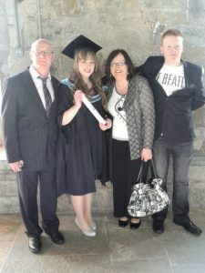 Siobhán Brosnan who recently graduated from UCC with a Masters in Molecular Cell Biology with Bioinnovation, pictured with her Dad Seán, Mum Marie and her brother Éamonn.