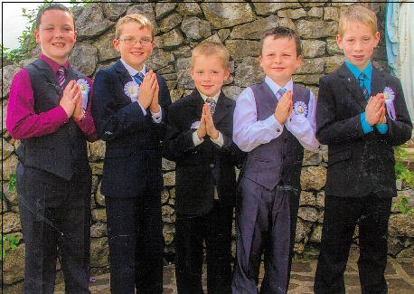 Calum Buckley, Fergal Pierse, James Broderick, Cillian O'Connor & Dylan Steward after receiving their First Holy Communion in Athea recently