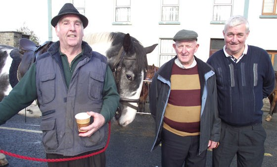Jim 'The Jobber' O'Connor, Mick McCoy and Ned Ahern trying to strike a bargain at the Fair Day recently