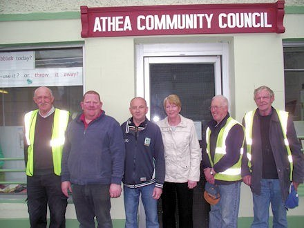 Billy McKenna, Teddy O'Connor, Jim Carmody, Lillian O'Carroll, Jim Sheehy & Pa Kiely outside the Community Council premises