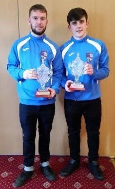 Kevin Murphy,Desmond League Division 1 player of the year and James Ryan, Desmond League Youths Division 2 player of the year pictured atThe Rathkeale House Hotel last week where theywere presented with their awards at a Desmond League function .