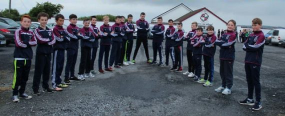 The Athea Féile team waiting to welcome the Warwickshire team on Thursday last