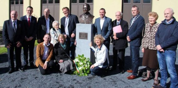 Members of Athea Community Council who commissioned the bust, Domhnall de Barra, Damien Ahern, Lillian O'Carroll, Mary T. Mulvihill and Theresa Mullane with public representatives Patrick O'Donovan T.D., Michael Collins MCC, Niall Collins T.D., Con Colbert, John Sheahan MCC and Seamus Browne MCC. Also in picture Nan Hurley