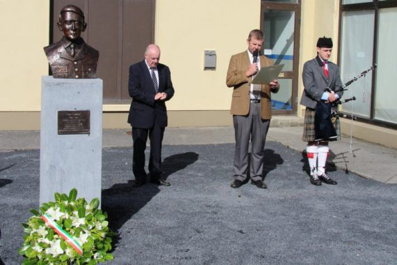Paul Curry reading the proclamation at the unveiling on Sunday last