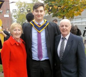 Daniel Hannon Barry who graduated from Cork Institute of Technology with a Bachelor of Science Honours Degree in Applied Physics and Automation pictured here with his grandparents Noreen and Domhnall Barry, Cratloe